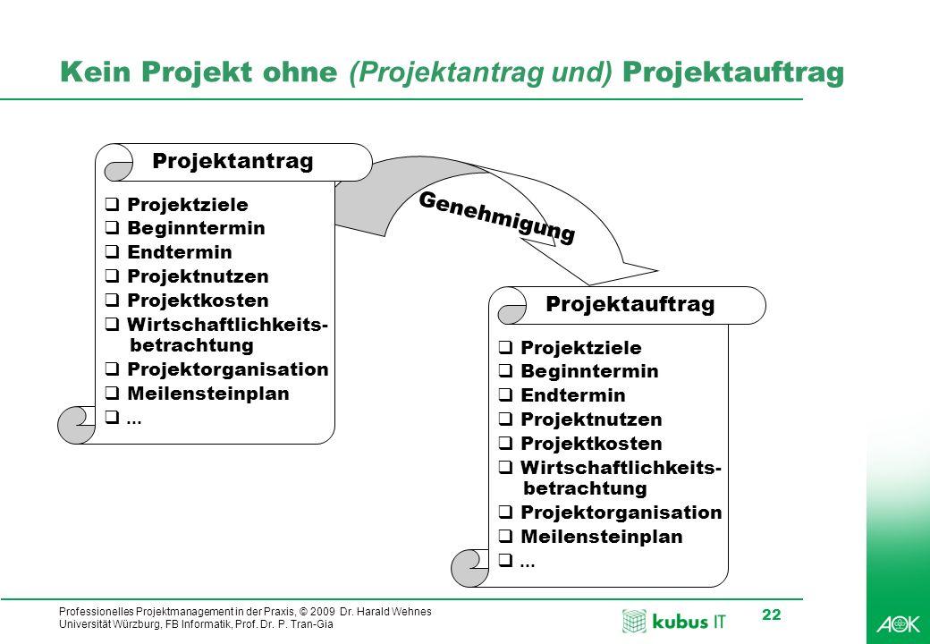 Professionelles Projektmanagement in der Praxis, © 2009 Dr. Harald Wehnes Universität Würzburg, FB Informatik, Prof. Dr. P. Tran-Gia 22 Genehmigung Ke