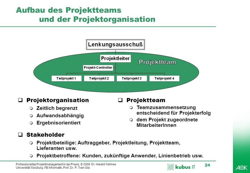 Professionelles Projektmanagement in der Praxis, © 2009 Dr. Harald Wehnes Universität Würzburg, FB Informatik, Prof. Dr. P. Tran-Gia 24 Aufbau des Pro