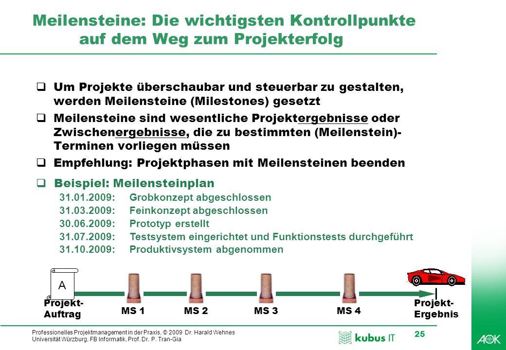 Professionelles Projektmanagement in der Praxis, © 2009 Dr. Harald Wehnes Universität Würzburg, FB Informatik, Prof. Dr. P. Tran-Gia 25 Meilensteine: