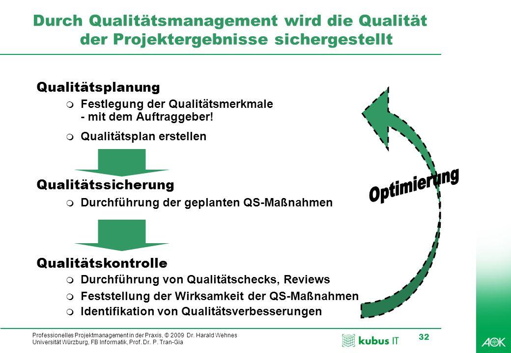 Professionelles Projektmanagement in der Praxis, © 2009 Dr. Harald Wehnes Universität Würzburg, FB Informatik, Prof. Dr. P. Tran-Gia 32 Durch Qualität