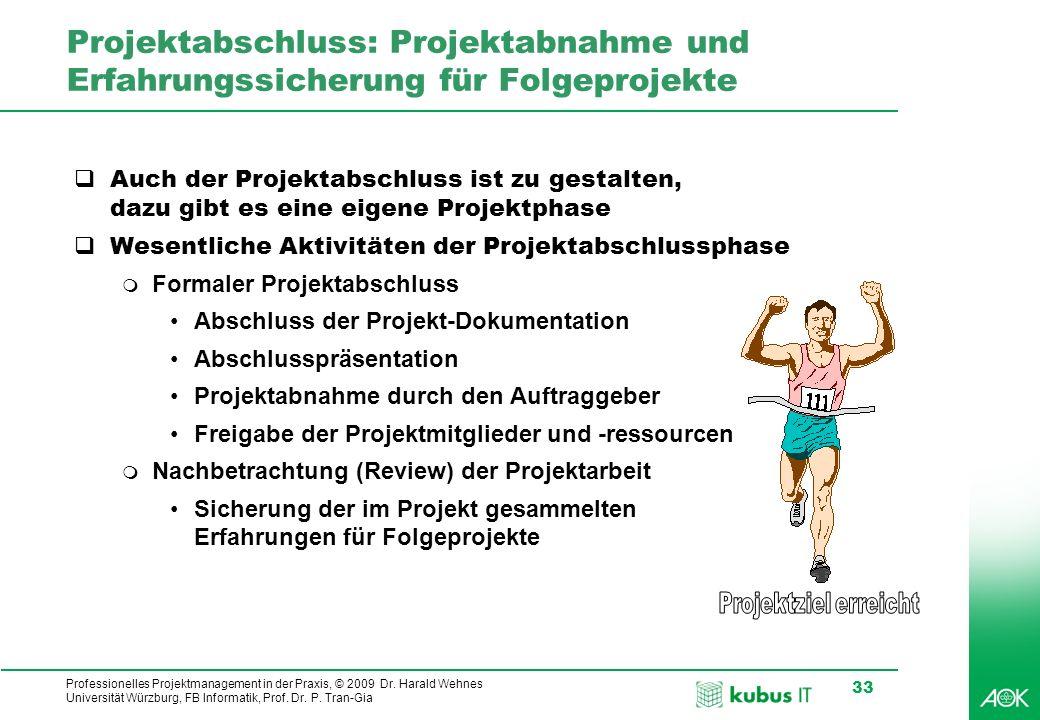 Professionelles Projektmanagement in der Praxis, © 2009 Dr. Harald Wehnes Universität Würzburg, FB Informatik, Prof. Dr. P. Tran-Gia 33 Projektabschlu