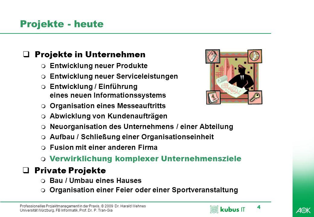 Professionelles Projektmanagement in der Praxis, © 2009 Dr. Harald Wehnes Universität Würzburg, FB Informatik, Prof. Dr. P. Tran-Gia 4 Projekte - heut