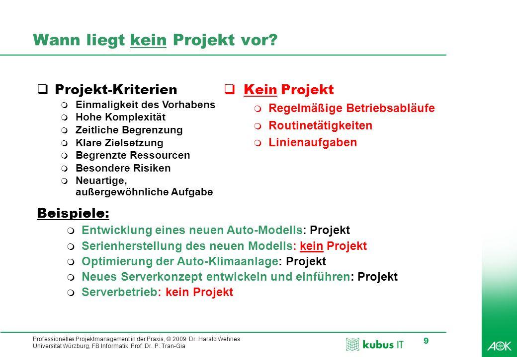 Professionelles Projektmanagement in der Praxis, © 2009 Dr. Harald Wehnes Universität Würzburg, FB Informatik, Prof. Dr. P. Tran-Gia 9 Wann liegt kein