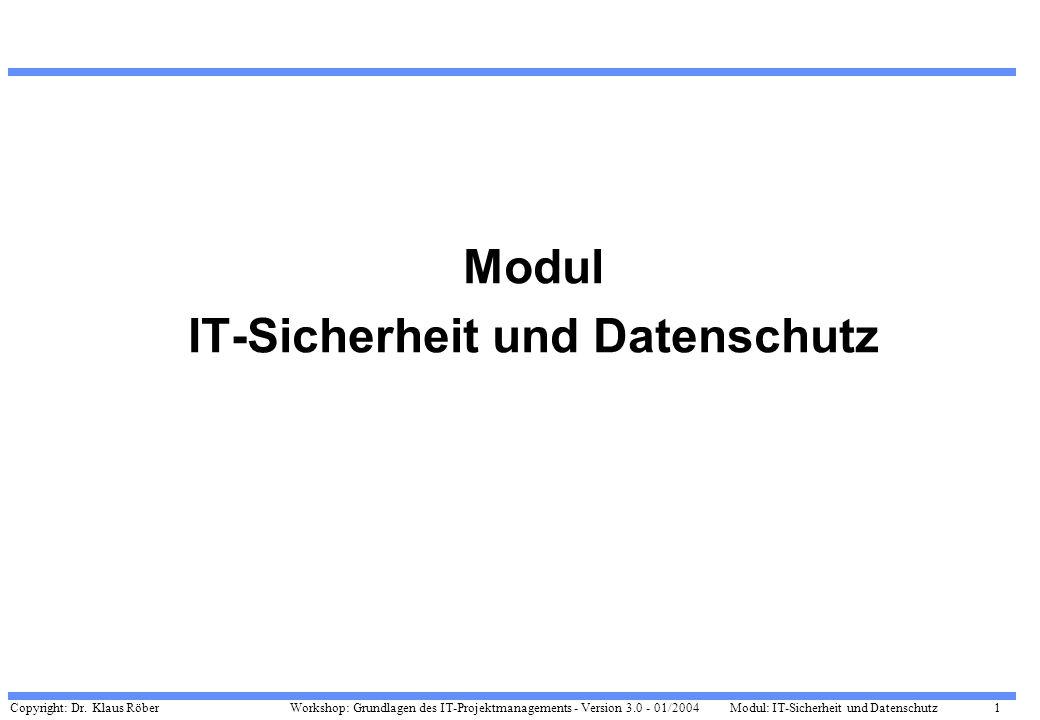 Copyright: Dr. Klaus Röber 1 Workshop: Grundlagen des IT-Projektmanagements - Version 3.0 - 01/2004Modul: IT-Sicherheit und Datenschutz Modul IT-Siche