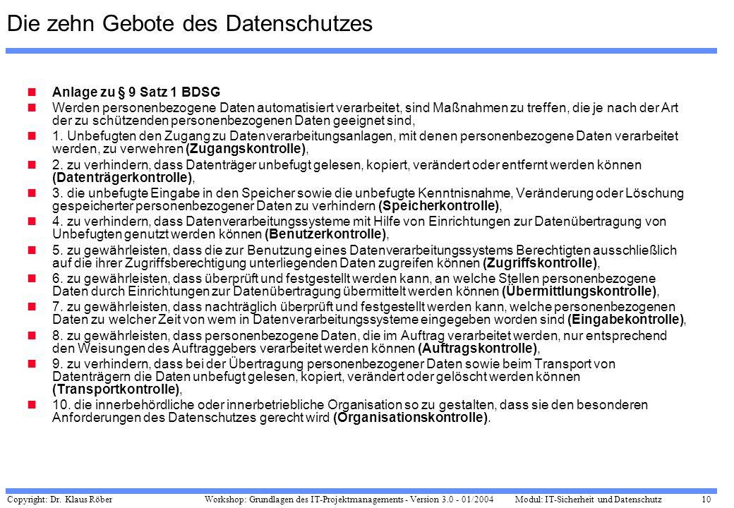 Copyright: Dr. Klaus Röber 10 Workshop: Grundlagen des IT-Projektmanagements - Version 3.0 - 01/2004Modul: IT-Sicherheit und Datenschutz Die zehn Gebo