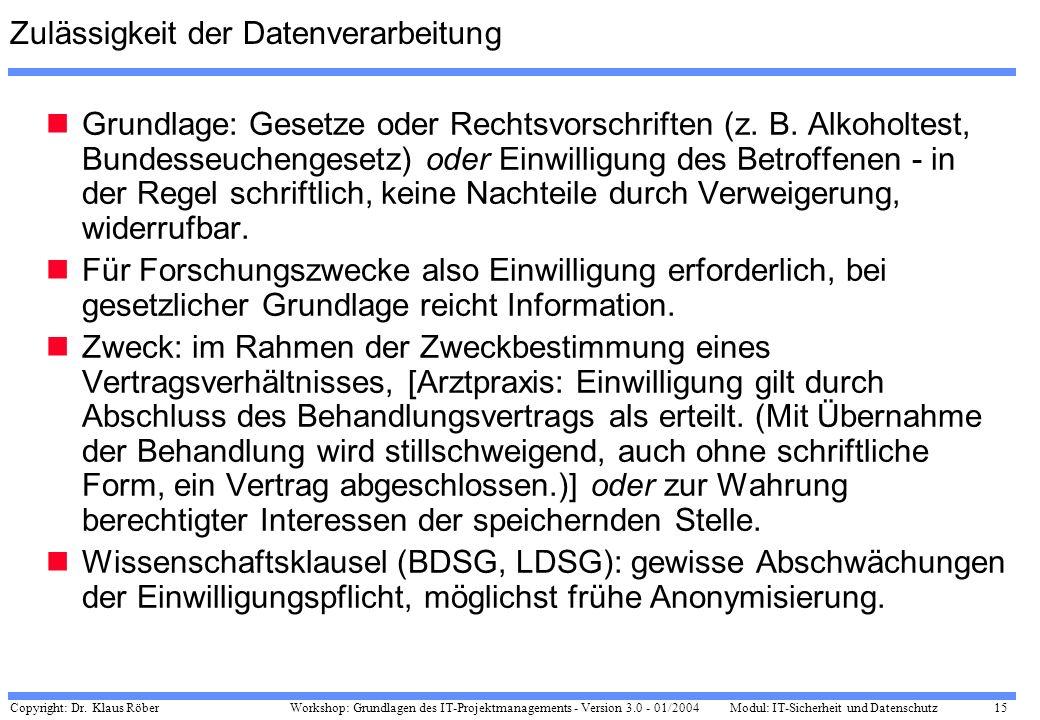 Copyright: Dr. Klaus Röber 15 Workshop: Grundlagen des IT-Projektmanagements - Version 3.0 - 01/2004Modul: IT-Sicherheit und Datenschutz Zulässigkeit