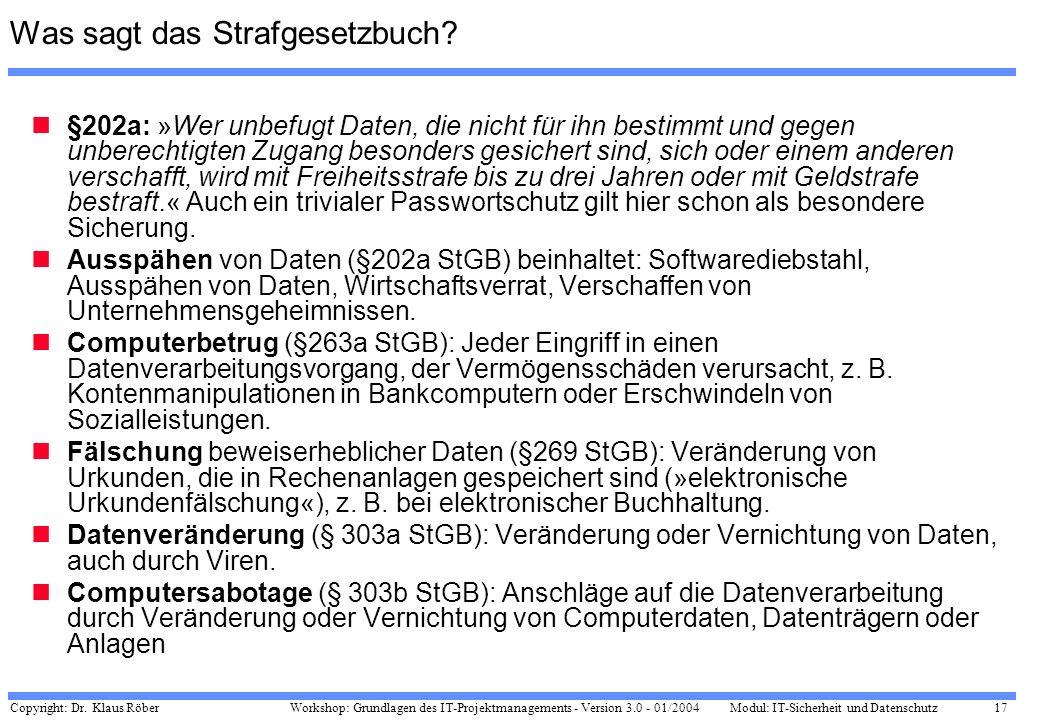 Copyright: Dr. Klaus Röber 17 Workshop: Grundlagen des IT-Projektmanagements - Version 3.0 - 01/2004Modul: IT-Sicherheit und Datenschutz Was sagt das