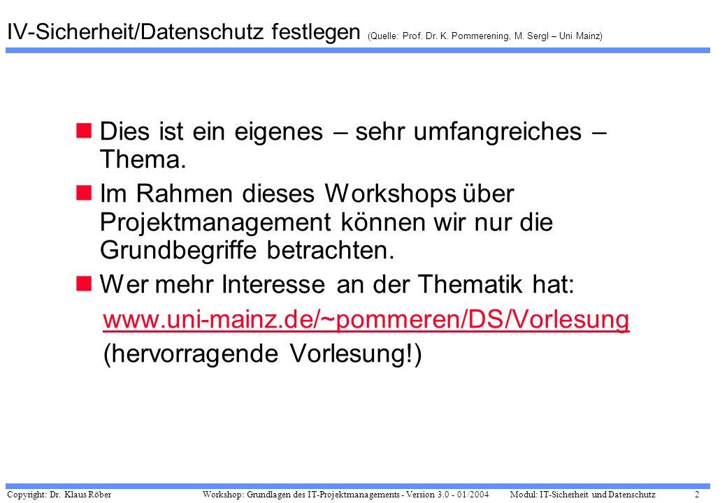 Copyright: Dr. Klaus Röber 2 Workshop: Grundlagen des IT-Projektmanagements - Version 3.0 - 01/2004Modul: IT-Sicherheit und Datenschutz IV-Sicherheit/