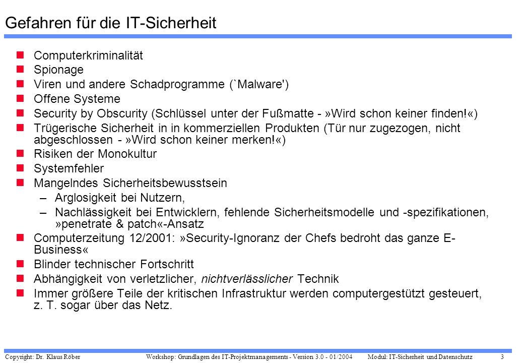 Copyright: Dr. Klaus Röber 3 Workshop: Grundlagen des IT-Projektmanagements - Version 3.0 - 01/2004Modul: IT-Sicherheit und Datenschutz Gefahren für d