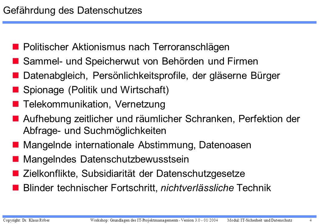 Copyright: Dr. Klaus Röber 4 Workshop: Grundlagen des IT-Projektmanagements - Version 3.0 - 01/2004Modul: IT-Sicherheit und Datenschutz Gefährdung des