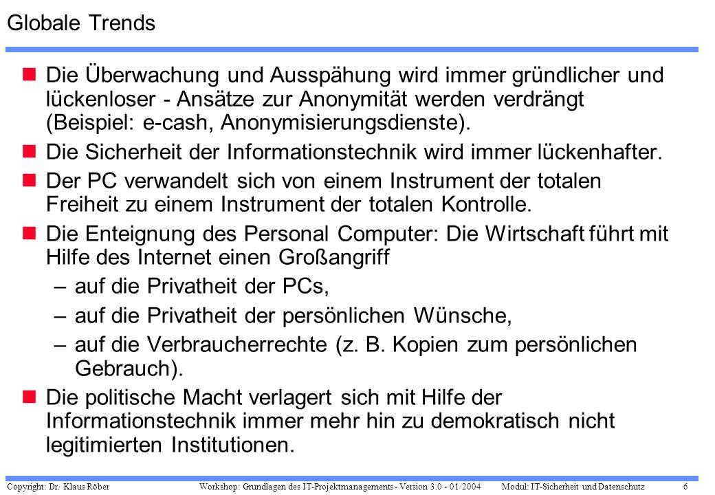Copyright: Dr. Klaus Röber 6 Workshop: Grundlagen des IT-Projektmanagements - Version 3.0 - 01/2004Modul: IT-Sicherheit und Datenschutz Globale Trends