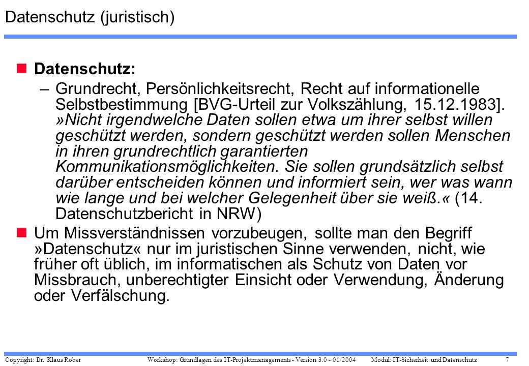 Copyright: Dr. Klaus Röber 7 Workshop: Grundlagen des IT-Projektmanagements - Version 3.0 - 01/2004Modul: IT-Sicherheit und Datenschutz Datenschutz (j