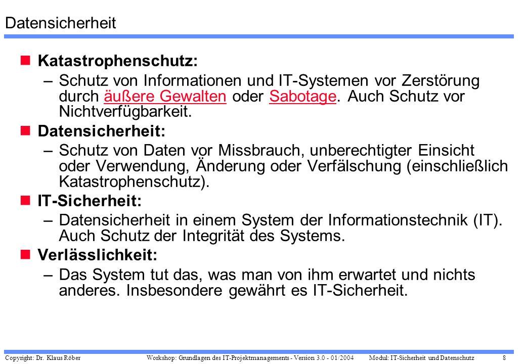 Copyright: Dr. Klaus Röber 8 Workshop: Grundlagen des IT-Projektmanagements - Version 3.0 - 01/2004Modul: IT-Sicherheit und Datenschutz Datensicherhei