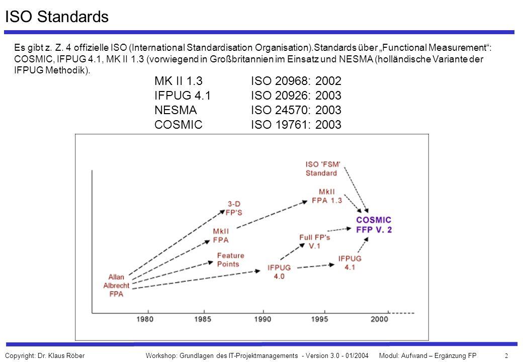 2 Workshop: Grundlagen des IT-Projektmanagements - Version 3.0 - 01/2004Modul: Aufwand – Ergänzung FP Copyright: Dr. Klaus Röber ISO Standards Es gibt