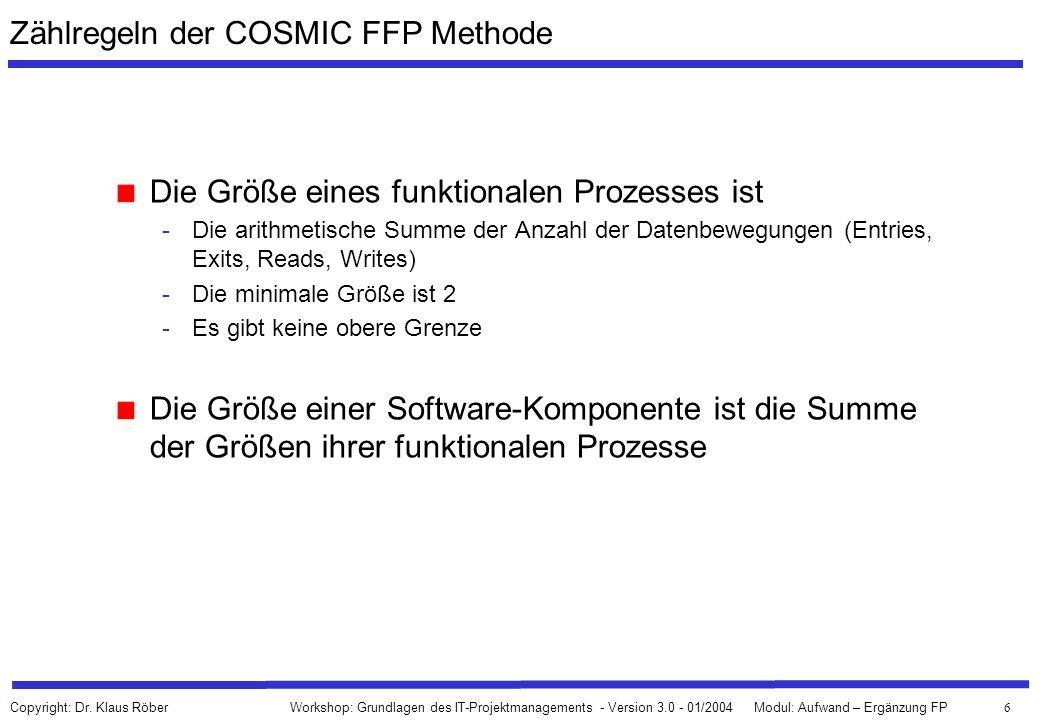 6 Workshop: Grundlagen des IT-Projektmanagements - Version 3.0 - 01/2004Modul: Aufwand – Ergänzung FP Copyright: Dr. Klaus Röber Zählregeln der COSMIC