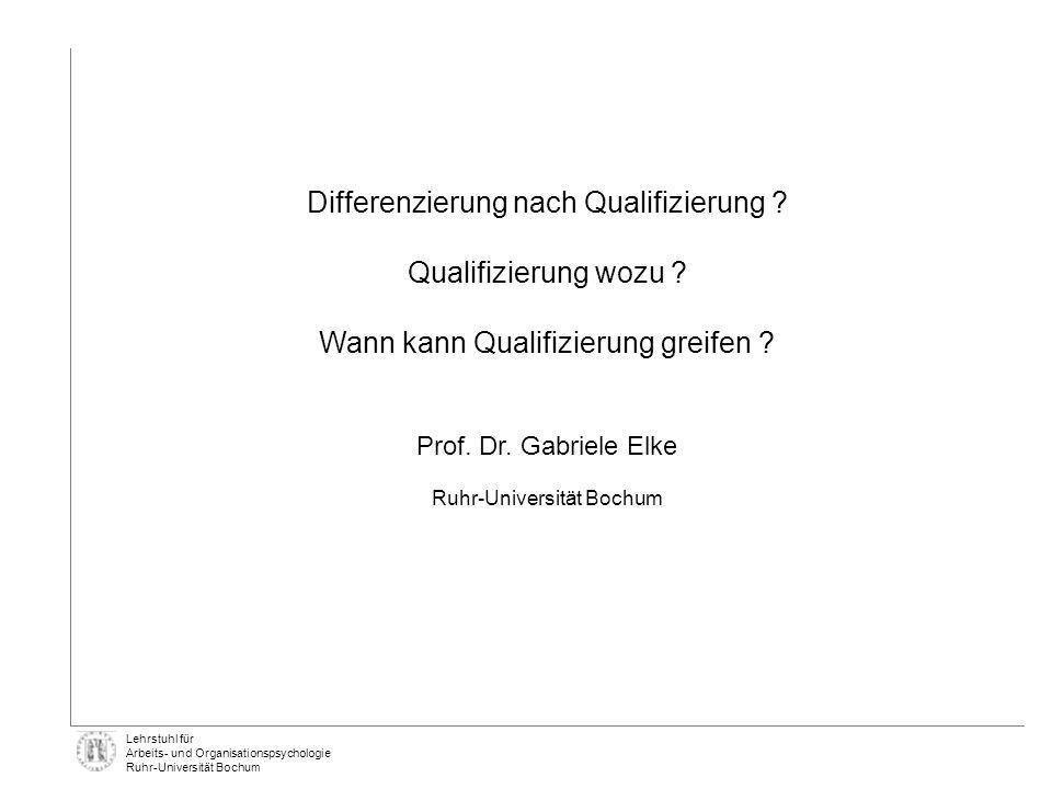 Lehrstuhl für Arbeits- und Organisationspsychologie Ruhr-Universität Bochum * p <.05; ** p <.01 Quelle: Beckmann et al., 2001 0% 10% 20% 30% 40% 50% 60% 70% Führungs- aufgaben Qualifizierungs- systeme Beurteilungs- systeme** Anreiz- systeme* Rückmeldung Über Durchschnitt N = 24 Führungskräfte Unter Durchschnitt N = 29 Führungskräfte Fortschritt N = 23 Führungskräfte GAMAGS Voraussetzung für Umsetzung: Zielklarheit und ergebnisorientiertes Controlling auch auf den Führungsebenen Konsequenzen Ziel Gesundheits- förderung ErgebnisseFolgen Führungs- Verhalten