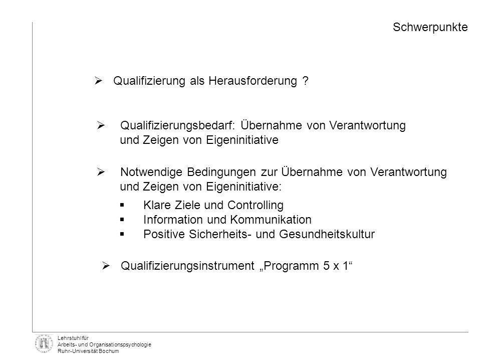 Lehrstuhl für Arbeits- und Organisationspsychologie Ruhr-Universität Bochum Qualifizierungsbedarf: Übernahme von Verantwortung und Zeigen von Eigenini