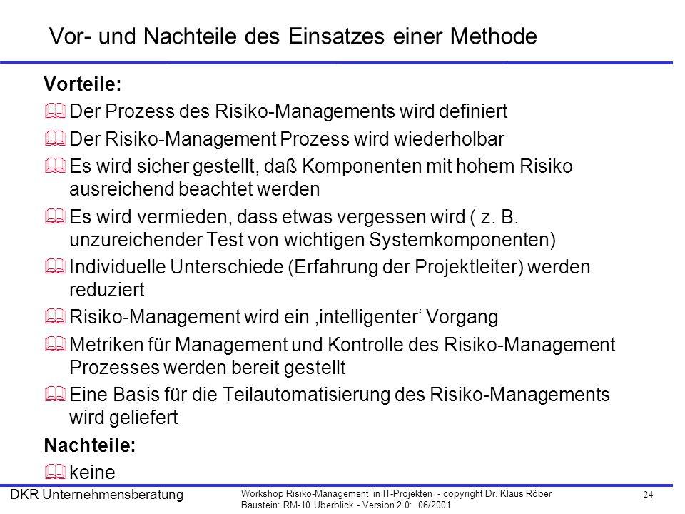 24 Workshop Risiko-Management in IT-Projekten - copyright Dr. Klaus Röber Baustein: RM-10 Überblick - Version 2.0: 06/2001 DKR Unternehmensberatung Vo
