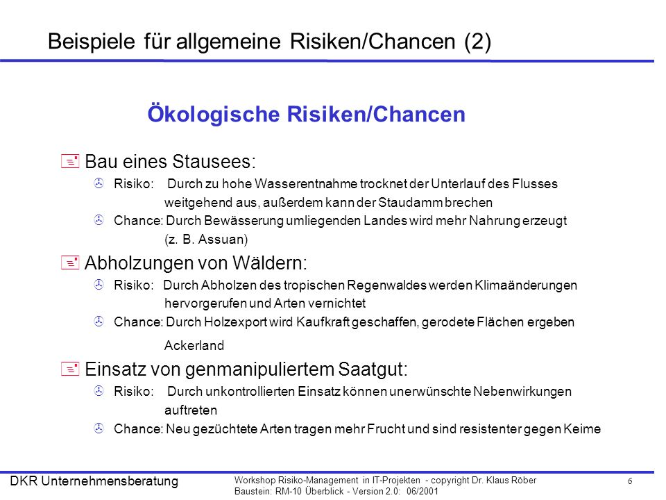 6 Workshop Risiko-Management in IT-Projekten - copyright Dr. Klaus Röber Baustein: RM-10 Überblick - Version 2.0: 06/2001 DKR Unternehmensberatung Bei