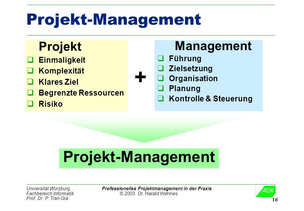Universität Würzburg Professionelles Projektmanagement in der Praxis Fachbereich Informatik © 2003 Dr. Harald Wehnes Prof. Dr. P. Tran-Gia 16 Projekt-