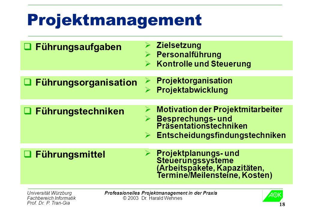 Universität Würzburg Professionelles Projektmanagement in der Praxis Fachbereich Informatik © 2003 Dr. Harald Wehnes Prof. Dr. P. Tran-Gia 18 Projektm