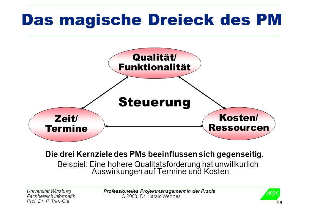 Universität Würzburg Professionelles Projektmanagement in der Praxis Fachbereich Informatik © 2003 Dr. Harald Wehnes Prof. Dr. P. Tran-Gia 19 Das magi