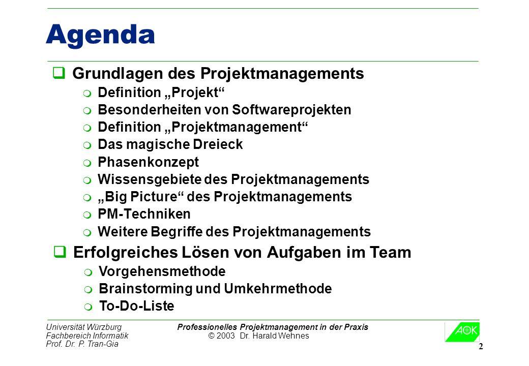 Universität Würzburg Professionelles Projektmanagement in der Praxis Fachbereich Informatik © 2003 Dr. Harald Wehnes Prof. Dr. P. Tran-Gia 2 Agenda qG