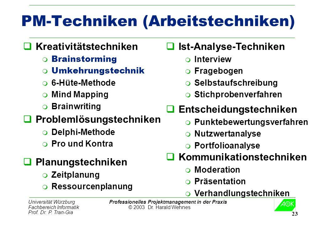 Universität Würzburg Professionelles Projektmanagement in der Praxis Fachbereich Informatik © 2003 Dr. Harald Wehnes Prof. Dr. P. Tran-Gia 23 PM-Techn