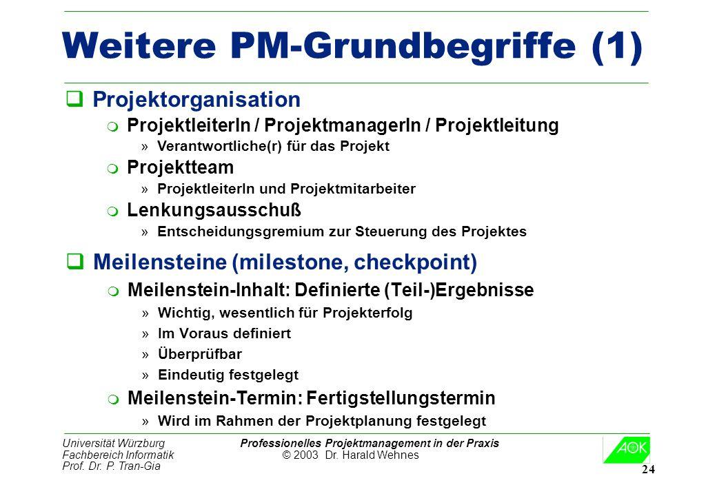 Universität Würzburg Professionelles Projektmanagement in der Praxis Fachbereich Informatik © 2003 Dr. Harald Wehnes Prof. Dr. P. Tran-Gia 24 Weitere