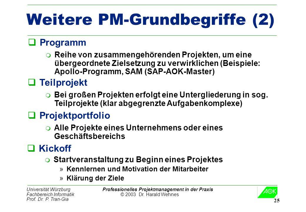 Universität Würzburg Professionelles Projektmanagement in der Praxis Fachbereich Informatik © 2003 Dr. Harald Wehnes Prof. Dr. P. Tran-Gia 25 Weitere