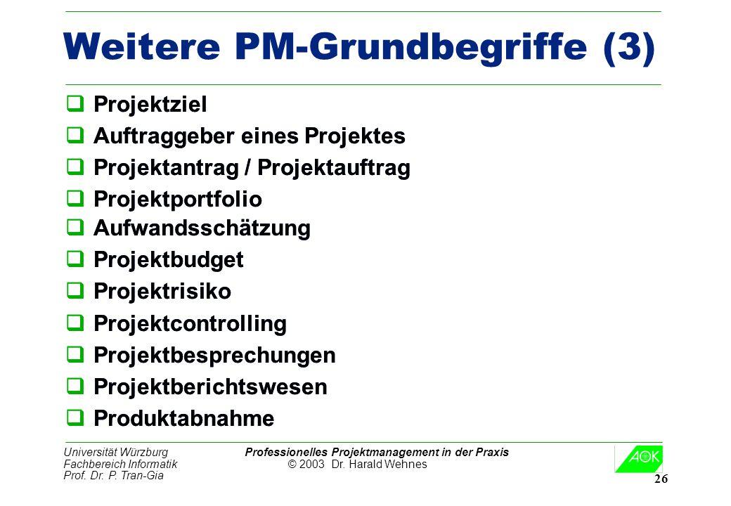Universität Würzburg Professionelles Projektmanagement in der Praxis Fachbereich Informatik © 2003 Dr. Harald Wehnes Prof. Dr. P. Tran-Gia 26 Weitere