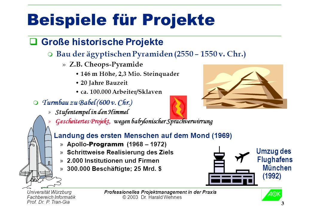 Universität Würzburg Professionelles Projektmanagement in der Praxis Fachbereich Informatik © 2003 Dr. Harald Wehnes Prof. Dr. P. Tran-Gia 3 Beispiele