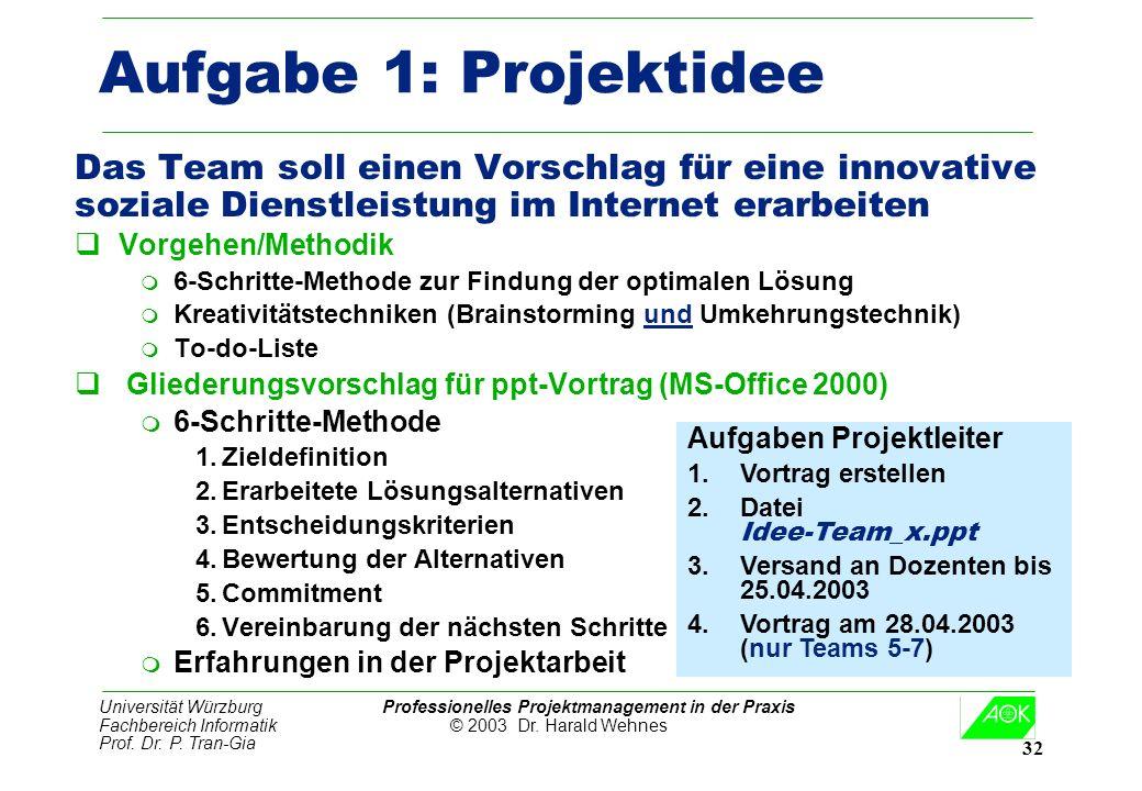 Universität Würzburg Professionelles Projektmanagement in der Praxis Fachbereich Informatik © 2003 Dr. Harald Wehnes Prof. Dr. P. Tran-Gia 32 Aufgabe