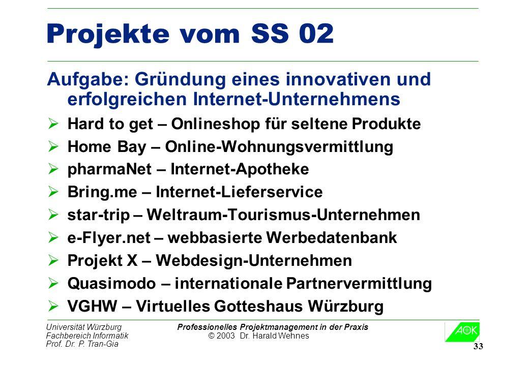 Universität Würzburg Professionelles Projektmanagement in der Praxis Fachbereich Informatik © 2003 Dr. Harald Wehnes Prof. Dr. P. Tran-Gia 33 Projekte