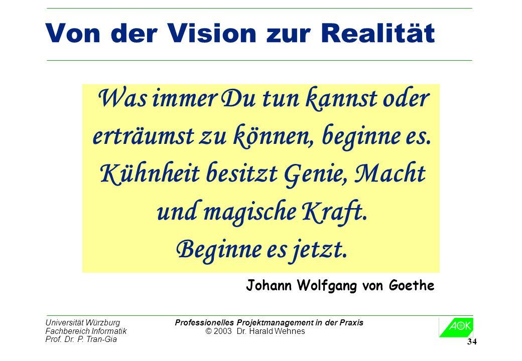 Universität Würzburg Professionelles Projektmanagement in der Praxis Fachbereich Informatik © 2003 Dr. Harald Wehnes Prof. Dr. P. Tran-Gia 34 Von der