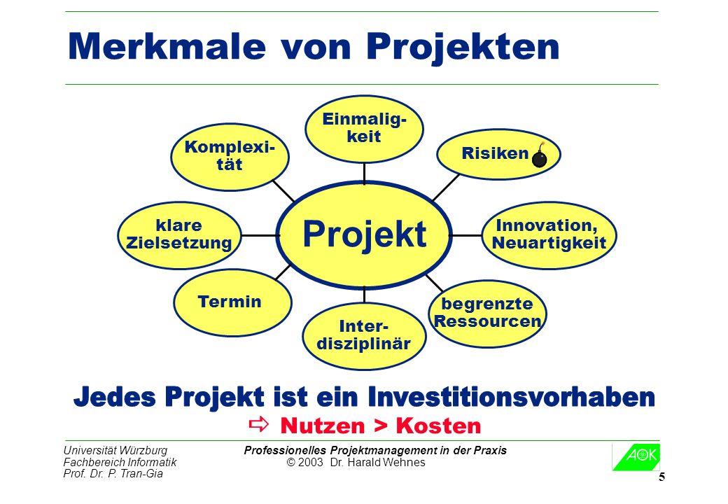Universität Würzburg Professionelles Projektmanagement in der Praxis Fachbereich Informatik © 2003 Dr. Harald Wehnes Prof. Dr. P. Tran-Gia 5 Merkmale