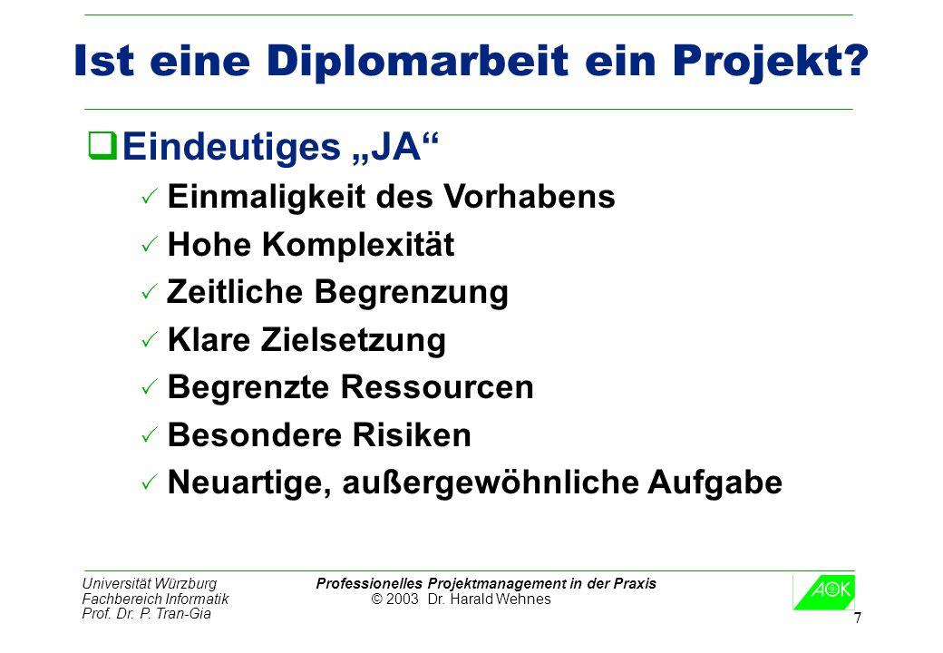Universität Würzburg Professionelles Projektmanagement in der Praxis Fachbereich Informatik © 2003 Dr. Harald Wehnes Prof. Dr. P. Tran-Gia 7 Ist eine
