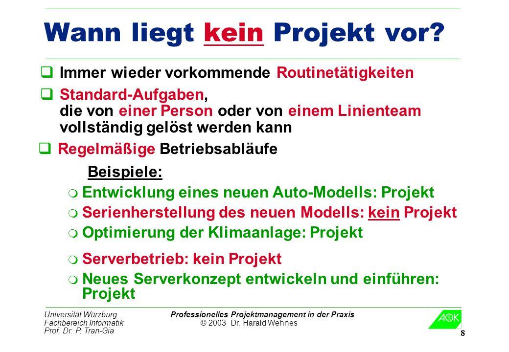 Universität Würzburg Professionelles Projektmanagement in der Praxis Fachbereich Informatik © 2003 Dr. Harald Wehnes Prof. Dr. P. Tran-Gia 8 Wann lieg