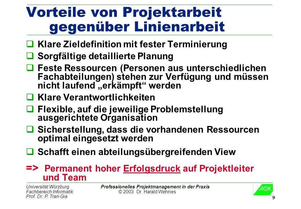 Universität Würzburg Professionelles Projektmanagement in der Praxis Fachbereich Informatik © 2003 Dr. Harald Wehnes Prof. Dr. P. Tran-Gia 9 Vorteile