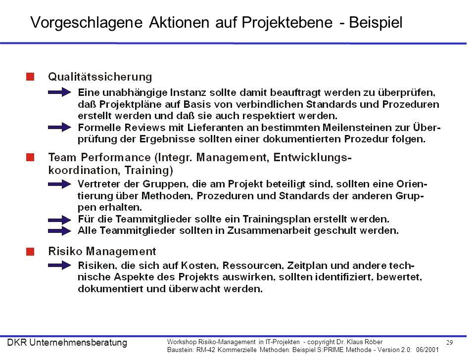 29 Workshop Risiko-Management in IT-Projekten - copyright Dr. Klaus Röber Baustein: RM-42 Kommerzielle Methoden: Beispiel S:PRIME Methode - Version 2.