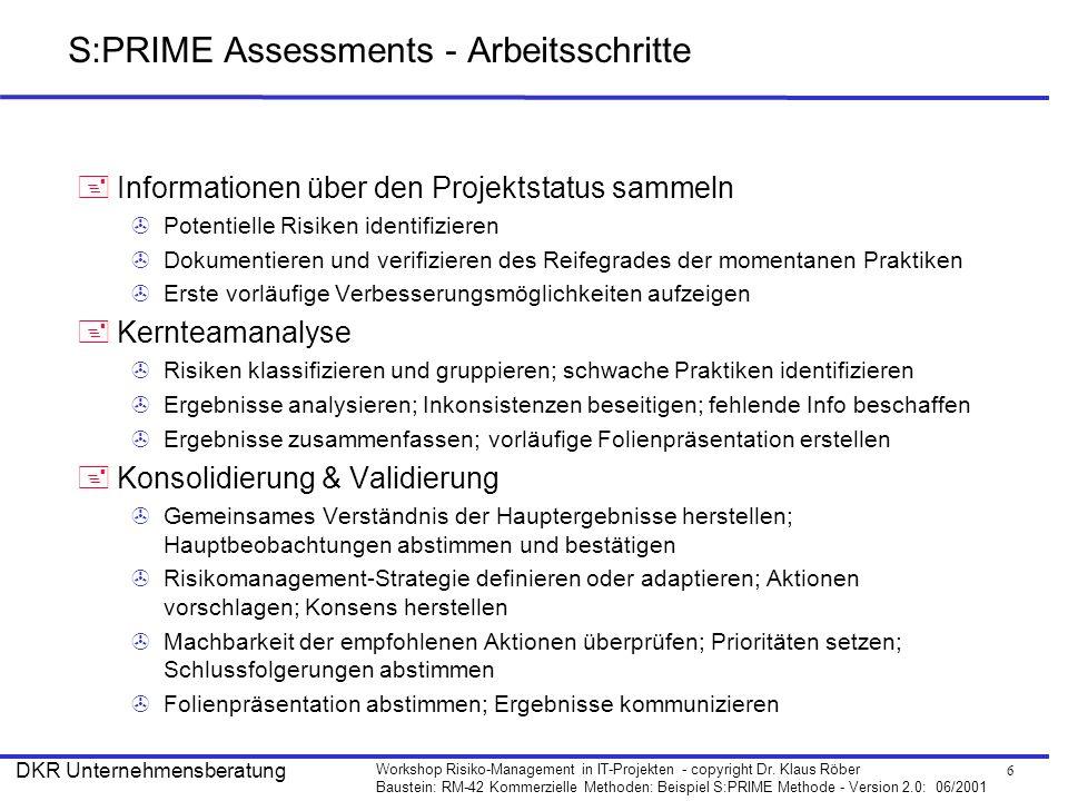 6 Workshop Risiko-Management in IT-Projekten - copyright Dr. Klaus Röber Baustein: RM-42 Kommerzielle Methoden: Beispiel S:PRIME Methode - Version 2.0