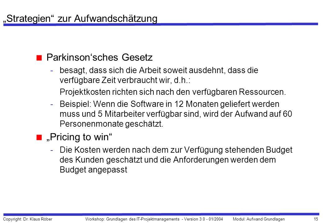 15 Copyright: Dr. Klaus Röber Workshop: Grundlagen des IT-Projektmanagements - Version 3.0 - 01/2004Modul: Aufwand Grundlagen Strategien zur Aufwandsc