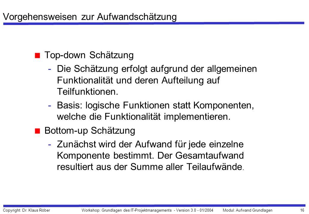 16 Copyright: Dr. Klaus Röber Workshop: Grundlagen des IT-Projektmanagements - Version 3.0 - 01/2004Modul: Aufwand Grundlagen Vorgehensweisen zur Aufw