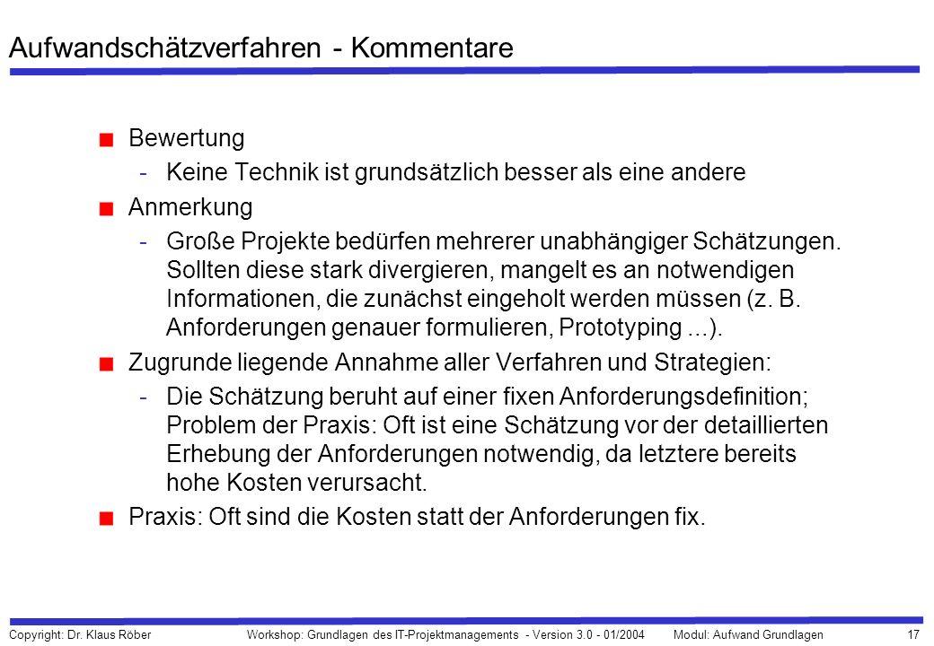 17 Copyright: Dr. Klaus Röber Workshop: Grundlagen des IT-Projektmanagements - Version 3.0 - 01/2004Modul: Aufwand Grundlagen Aufwandschätzverfahren -