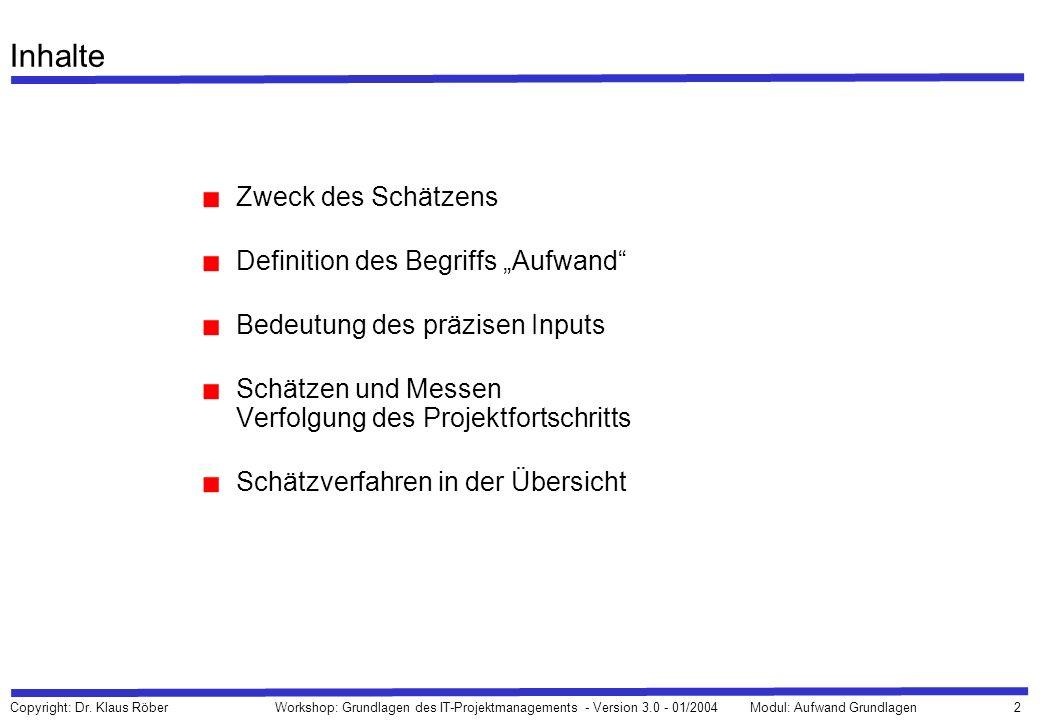 2 Copyright: Dr. Klaus Röber Workshop: Grundlagen des IT-Projektmanagements - Version 3.0 - 01/2004Modul: Aufwand Grundlagen Inhalte Zweck des Schätze