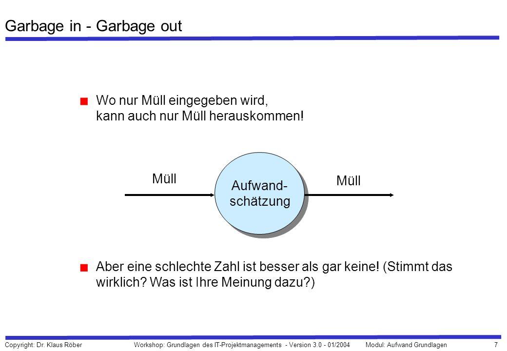 7 Copyright: Dr. Klaus Röber Workshop: Grundlagen des IT-Projektmanagements - Version 3.0 - 01/2004Modul: Aufwand Grundlagen Garbage in - Garbage out