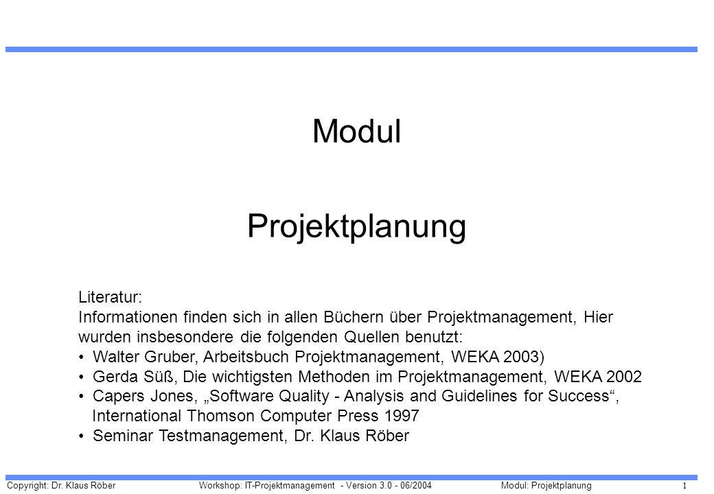 Copyright: Dr. Klaus Röber 1 Workshop: IT-Projektmanagement - Version 3.0 - 06/2004Modul: Projektplanung Modul Projektplanung Literatur: Informationen