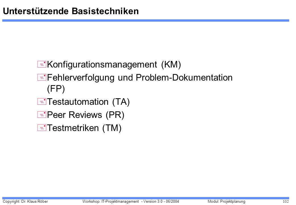 Copyright: Dr. Klaus Röber 102 Workshop: IT-Projektmanagement - Version 3.0 - 06/2004Modul: Projektplanung Unterstützende Basistechniken +Konfiguratio