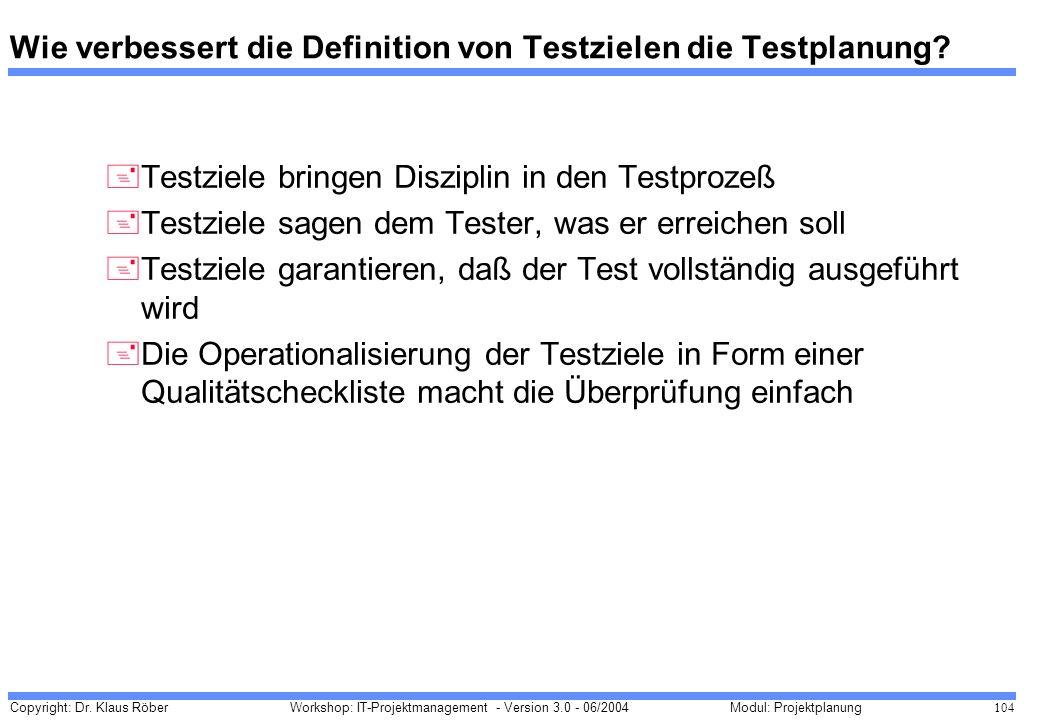 Copyright: Dr. Klaus Röber 104 Workshop: IT-Projektmanagement - Version 3.0 - 06/2004Modul: Projektplanung Wie verbessert die Definition von Testziele