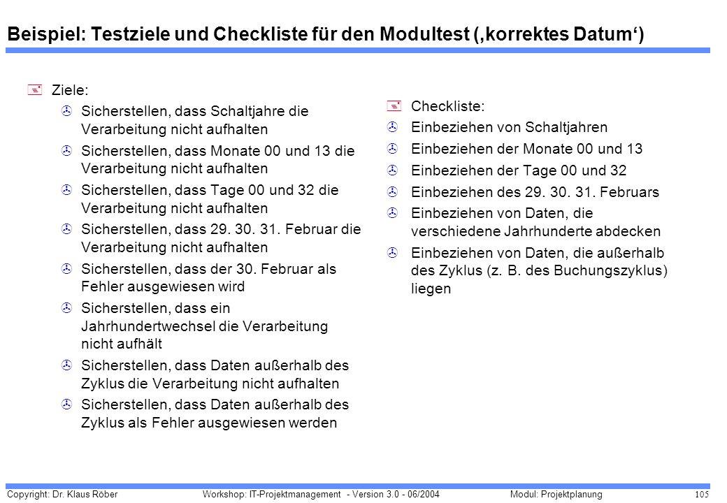 Copyright: Dr. Klaus Röber 105 Workshop: IT-Projektmanagement - Version 3.0 - 06/2004Modul: Projektplanung Beispiel: Testziele und Checkliste für den